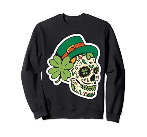 Traje irlands Sugar Skull Saint Patricks Day of Dead Sudadera