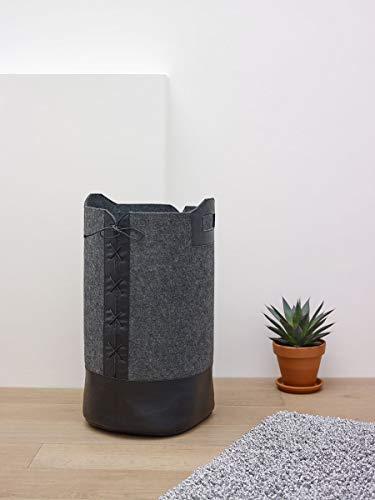 Aquanova Wäschesack Wäschekorb aus Polyesterfilz Doran dunkelgrau