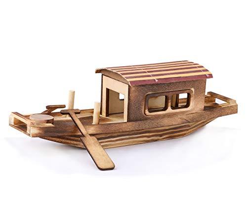 Rainbow Handcrafts Handmade Wooden Decorative Sailboat Model Vintage Nautical Sailing Boat Decoration Wooden Display Sailboat 10.75H