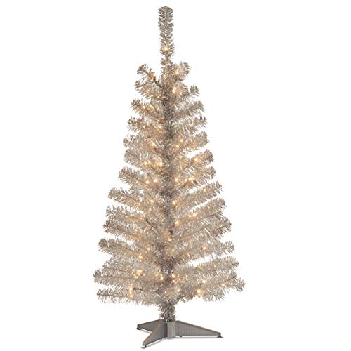 pre lit silver christmas tree, white lights artificial tree