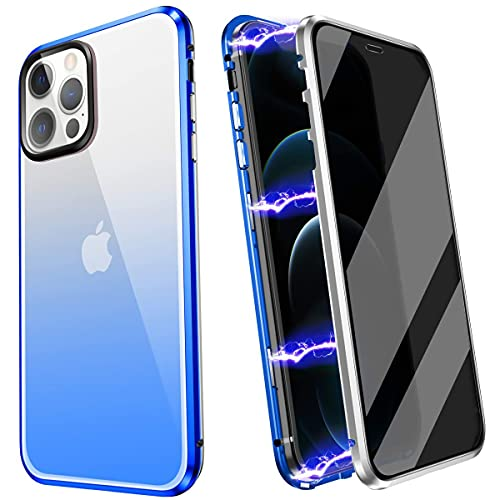 YUNQE Compatible with iPhone 12 Pro Max Case,Screen Protector Free Anti Peep Magnetic Phone Case Luxury Double Sided Protective Hard Cover Metal Frame with Camera Lens Full Body Protection,Blue