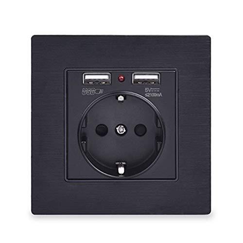 Stecker Und Steckdose Schwarzes Aluminium Metall Panel Dual USB Ladeanschluss 2.1A 16A Russland Spanien Steckdose EU Steckdosen Serie (Sorties Nombre : 1, Voltage classé : 110 250 V)