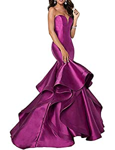 Fabric:Satin Style:Long floor£¬Bare backed£¬v neck£¬Sleeveless£¬Mermaid£¬Lace-up Closure£¬Tiered Ruffles If you order, please choose the size map on the left. If the size is not suitable, please be different from us. We can order any color and size. ...