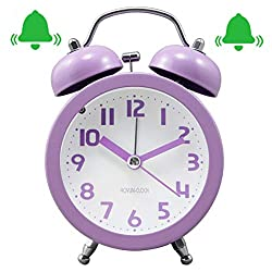 Retro Twin Bell Alarm Clock, Non Ticking Loud Alarm Clock, 3 Desk Table Clock for Home & Office