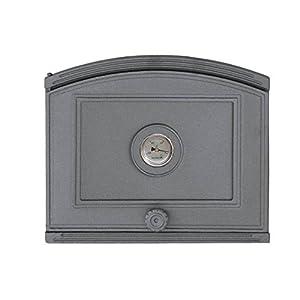 Puerta de horno para pizza o horno de madera de hierro fundido con termómetro, tamaño exterior: 372 x 315 mm, dirección…