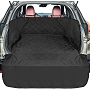 SUV Cargo Liner for Dogs, F-color Upgraded Waterproof Pet Cargo Cover with Full Side Flap Protector, Dog Seat Cover Mat for SUVs Sedans Vans with Bumper Flap, Non-Slip, Large Size, Black