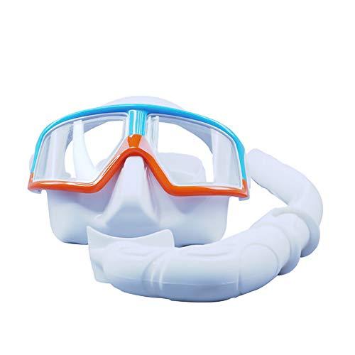 LZHYA Kit De Máscara Y Tubo para Snorkelling, Aleación de Aluminio, Vidrio antivaho, Drenaje Profesional, 120 Grados,Kit De Snorkeling, Set De Buceo Máscara De Buceo Snorkel Set (Blue)