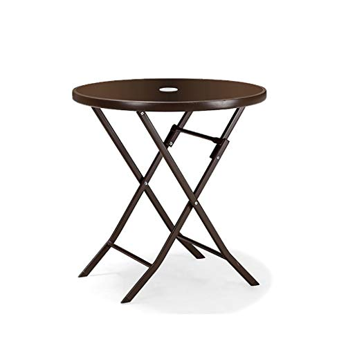Table pliante table à manger balcon Chaise longue ronde en verre trempé Petite table basse (taille : 70 * 70cm)