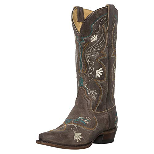 Silver Canyon Damen Cowboy-Stiefel, Juliet Heritage Quadratische Zehenschneider, besticktes Leder, Braun (Cremefarben/Braun), 38.5 EU