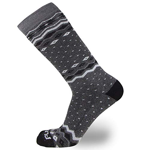 Kids Ski Socks – Warm Skiing Snowboard Sock for Boys and Girls, Merino Wool (1 Pairs - Black/Grey, S/M)