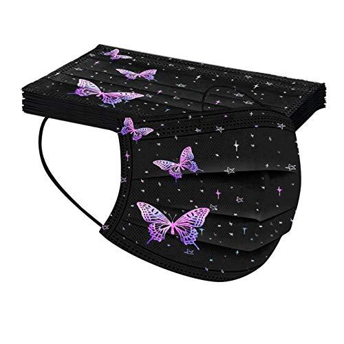 10 Stuck Schmetterling Einmal-mundschutz Lila Rosa Schwarz Bunt Drucken Verstellbarer Hängendes Ohr Staubschutz, Atmungsaktive Face Halstuch 3 lagig Staubs-chutz