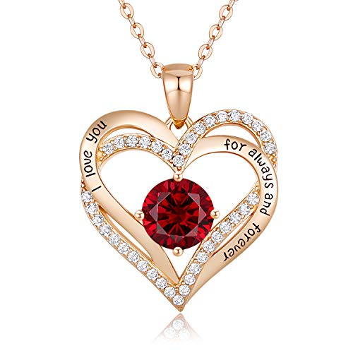 CDE Forever Love Heart Necklace 925 Sterling Silver Rose Gold Plated July Birthstone Pendant Necklaces for Women with 5A Cubic Zirconia Jewelry Birthday Gift