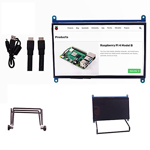 IGOSAIT 7 inch 1024 * 600 Capacitive Touch Panel TFT LCD Module Screen Display for Raspberry Pi 3 B+/4b (Color : Collocation Bracket)
