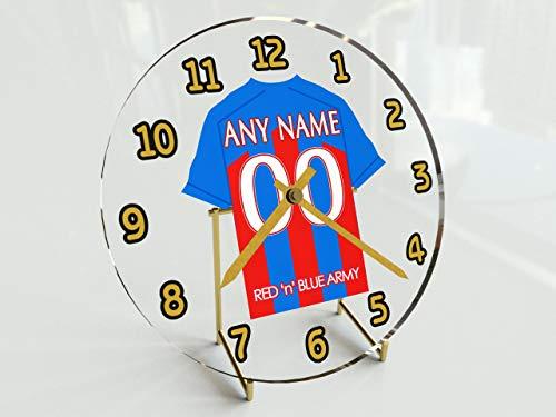 Premier League-Standuhr mit Fußballtrikot-Motiv, personalisierbar. Crystal Palace