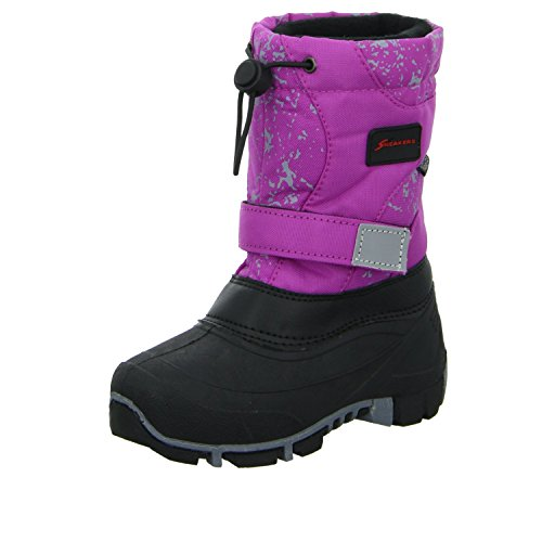 Sneakers Kinder Stiefel ZW-003-PU Mädchen Allwetter Winterstiefel Warmfutter Tex-Membran Pink Schwarz Größe 34 EU