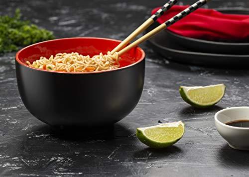 KooK Japanese Ceramic Noodle Bowl, Pho, Ramen, Deep Interior, Black and Red, capacity limit 34 oz - Set of 4