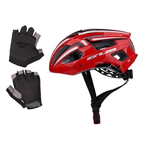 Nobranded MTB Bike Cascos para Montar en Bicicleta con Luz Trasera Y Guantes Protector de Ciclismo Al Aire Libre
