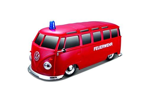 Maisto Tech R/C VW Bus Feuerwehr: Ferngesteuertes Auto mit Licht & Sound, Maßstab 1:24, Pistolengriff-Fernsteuerung, 5.8 km/h, 20 cm, rot (582091F)*