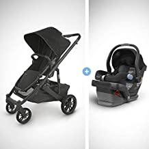 UPPAbaby Cruz V2 Stroller - Jake (Black/Carbon/Black Leather) + Mesa Infant Car Seat - Jake (Black)