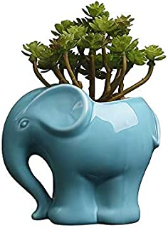 Sponsored Ad - Cute Cartoon Animal Elephant Shaped Ceramic Succulent Cactus Vase Flower Plant Pot for Home Garden Office D...