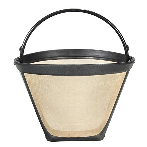Permanent Reusable #4 Cone Shape Coffee Filter Mesh Basket Gold Tone Coffee Accessories