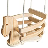 Wooden Horse Baby Swing for Outdoor Porch or Patio. Wood Toddler Swing with Bucket Chair Seat Design for Outside Swings Sets or Hanging Tree Accessories. Backyard Toy Set for Babies, Infants & Kids.