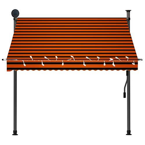 Cikonielf Toldo Manual retráctil con Manivela, Toldo con Solar LED para Ventanas Plegable 200 x 120cm, Protección Solar y Lluvia, Altura Ajustable 2-3 M, Naranja y marrón