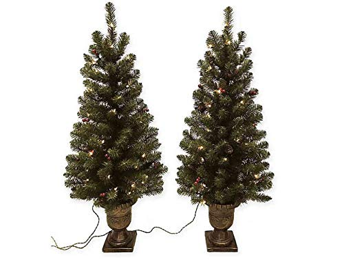 HomeAccents Set of Two Lighted 4' Entryway Christmas Trees w/Berries Pinecones and Urn Pots
