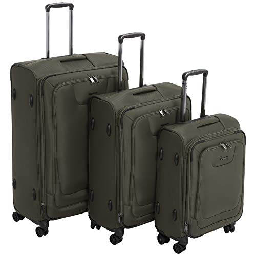 AmazonBasics 3 Piece Expandable Softside Spinner Luggage Suitcase With TSA Lock And Wheels Set - Olive