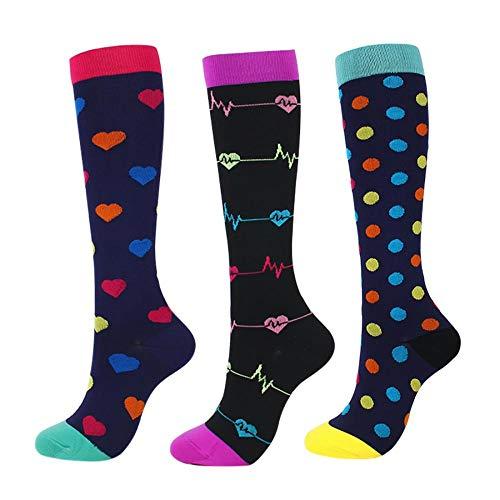 kiss me Kompressionsstrümpfe für Männer und Frauen, 3 Paar Socken, Sportsocken, kniehohe Socken, 15–20 mmHg ist die beste Unterstützung für sportliche Aktivitäten und Radfahren Small / Medium 1