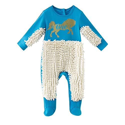uBabamama Baby Wischmop Strampler Lustig Kreativ Baby Kleidung Reinigungsmop Overall Kleinkind Jumpsuit Mopp Strampler Schneeanzüge Polituren Kinder Spielanzug 0-24 Monate