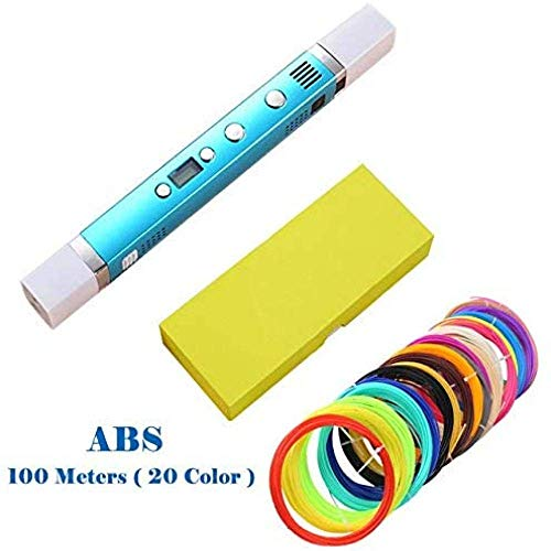 WYJW Stylo d'impression 3D 1.75Mm Abs/Pla DIY Stylo 3D LED Écran, Chargement USB Stylo d'impression 3D + 100M Filament Creative Toy Gift for Kids Design