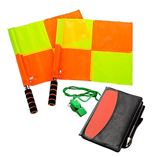 Exanko Kit per Arbitro di Calcio Taccuino Portafogli con Bandiere da Calcio Un Scacchi con Cartellino Giallo Rosso e Fischietto