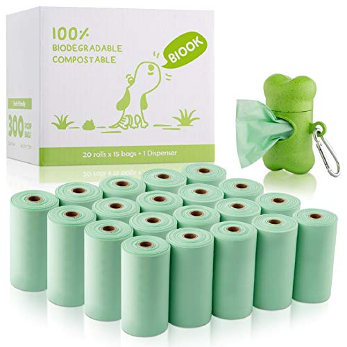 BIOOK Biodegradable Dog Poop Bag with 1 Free Dispenser, PLA-PBAT Compostable Dog Waste Bags,...