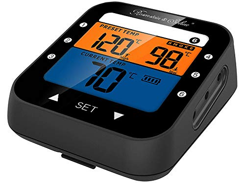 Rosenstein & Söhne Backthermometer: Profi-Grillthermometer mit Bluetooth und App, Farb-Display, 6 Fühler (Funk Temperaturmessung)