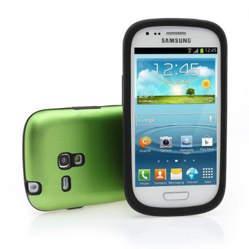 Xaiox Galaxy S3 Mini i8190 Aluminium Silber Silikon Grün Backcover inkl. Displayschutzfolie in Alu Grün für Samsung GT-i8190 Galaxy S III S3 Hülle Case Schutz Akku Deckel