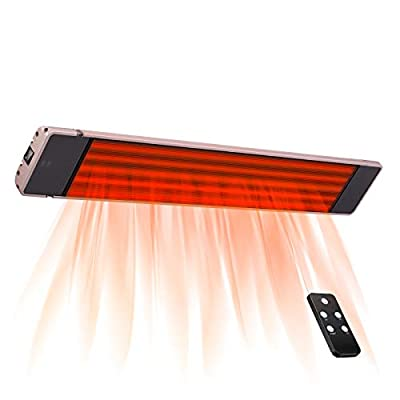 Antarctic Star Far-Infrared Radiant Heater,Indoor/Outdoor Wall-Mounted Electric Patio Heater with Fast Heating,3 Heating Modes & 24h Timer 90°Adjustable Heating Angle,500W-1500W with Stainless