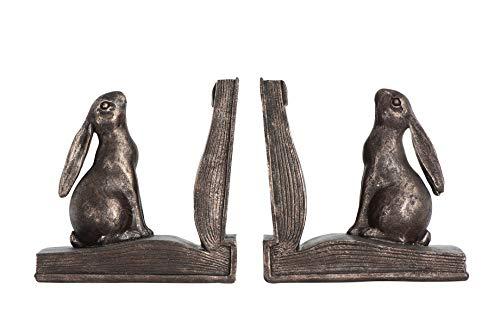 Creative Co-op EC0148 Rustic Rabbit on Book Resin (Set of 2 Pieces) Bookends, Bronze