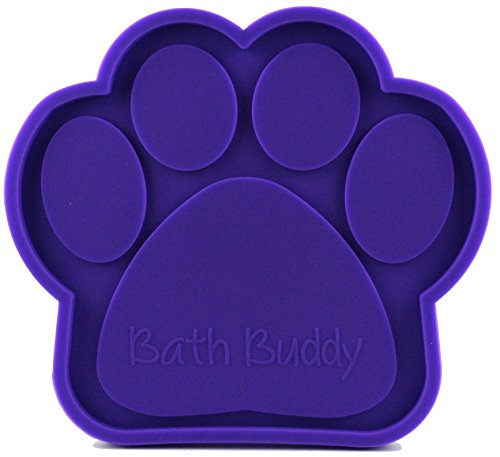 Bath Buddy Purple New for Dogs - The Original Dog Bath Toy - Makes Bath Time Easy, Just Spread Peanut Butter and Stick (Purple)