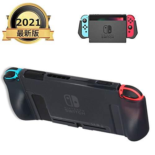 令和最新版Nintendo Switch用ケース PC保護カバー Switch ケース スイッチ カバー ニンテンドー 指紋防止 落下防止 任天堂 ジョイコン ドック Joy-Conに対応アクセサリー 4ボタンキャップ+保護フィルムが付き(6.2インチ)