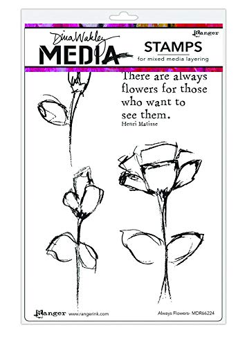 Ranger Dina Wakley Media Cling Stamps 6'X9'-Always Flowers