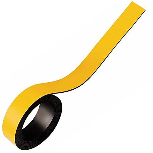 Cinta magnética flexible de colores, fuerte magnetización - 0,85mm x 20mm x 5m - para rotular y marcar, Color:amarillo