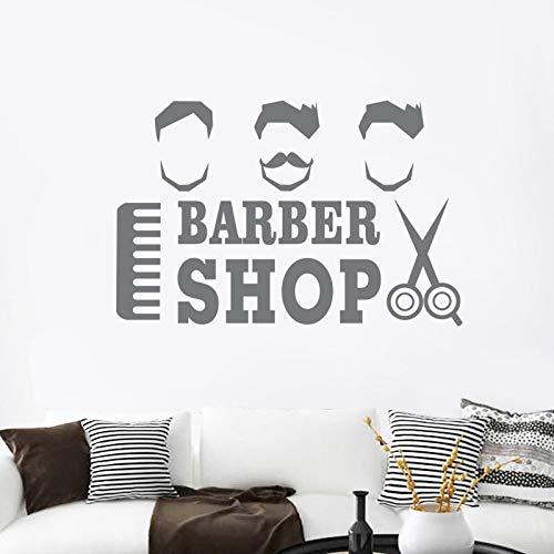 ASFGA Cool Man Barba Barba Barbiere Adesivi Poster Personalizzato in Vinile Wall Art Decorazione Decorazione della Finestra Parrucchiere Decalcomanie di Vetro del Rasoio 58x89 cm