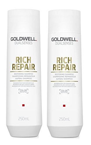 2er Aufbau Shampoo Rich Repair Dualsenses Goldwell Regeneration für geschädigtes Haar 250 ml
