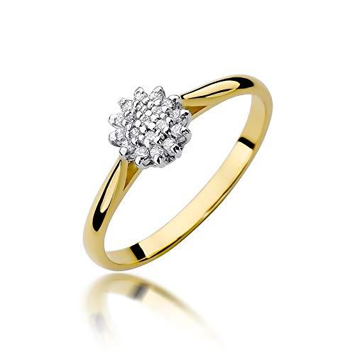Anillo de compromiso para mujer, oro amarillo 585 de 14 quilates, diamante natural
