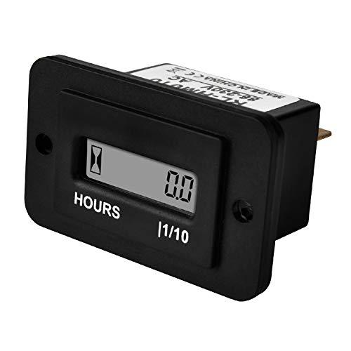 Runleader Digital LCD-Betriebsstundenzähler, 86 V bis 230 V Wechselstrom, zurücksetzbare Gesamtstunden, Einsatz für ZTR-Rasenmäher, Traktorgenerator(AC 86-230V)