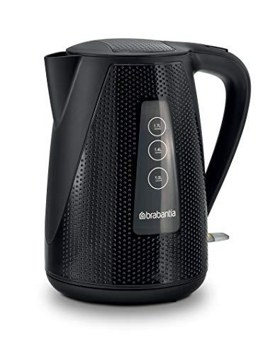 Brabantia BBEK1013KBK Schwarz – Luxus-Wasserkocher 1,7L - 2150 W - mit Kalk Wasserfilter, Elektrischer Wasserkessel mit Automatische Abschaltung