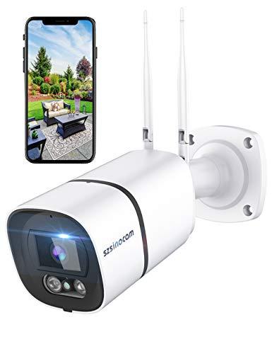 Telecamera di sorveglianza wifi da esterno, 1296P HD 3MP, Lega di alluminio e impermeabile IP66, disponibile con Alexa con funzione di visione notturna monitoraggio dell'esercizio, audio bidirezionale