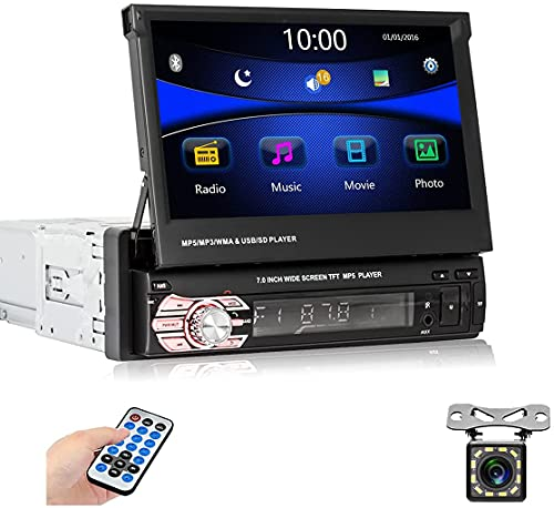 Autoradio 1Din con schermo - Autoradio con 7'' HD touchscreen autoradio con Bluetooth, collegamento specchio, telecamera retromarcia, comandi al volante, lettore multimediale MP5 con FM/USB/AUX/TF