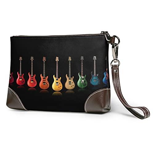 MGBWAPS Guitarra colorida música embrague, bolso del embrague de cuero, bolso cosmético, bolso del embrague de las pulseras, (Como se muestra), Talla única